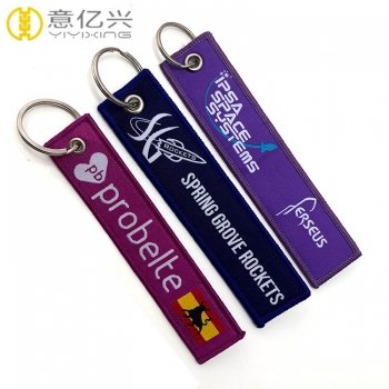Good quality woven key tags customize your own keychain