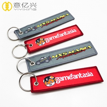 Wholesale Souvenirs Custom Metal Ring Woven Fabric Takata Keychain