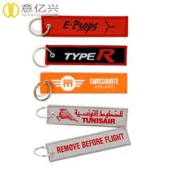 Cool Design Fabric Woven Jet Tag Keychain Custom Logo
