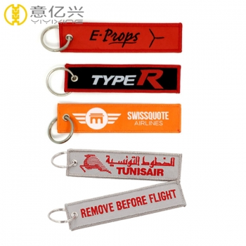Cool Design Fabric Woven Jet Tag Keychain Custom Logo