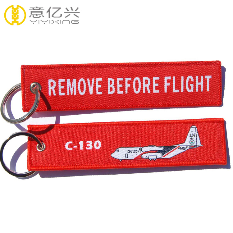 Custom flight woven keychain red remove before flight tag with logo
