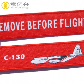 High quality custom logo woven airplane keyrings with metal key ring