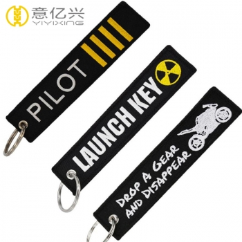 Woven airline pilot keyring with custom logo decoration