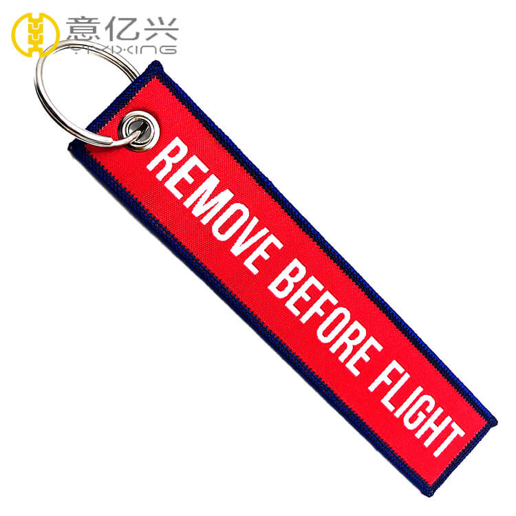 China factory hot sale remove before flight woven keyring