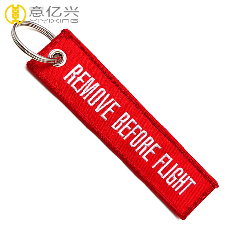 Personalized red color embroidered flight tag keychain custom