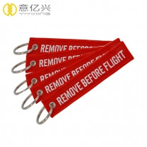 Polyester keyring for embroidered remove before flight small keychain