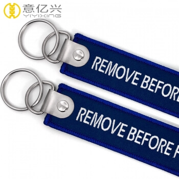 Factory custom remove before flight keychain blue with keyring
