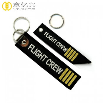 OEM printed embroidered key tag flight crew keychain