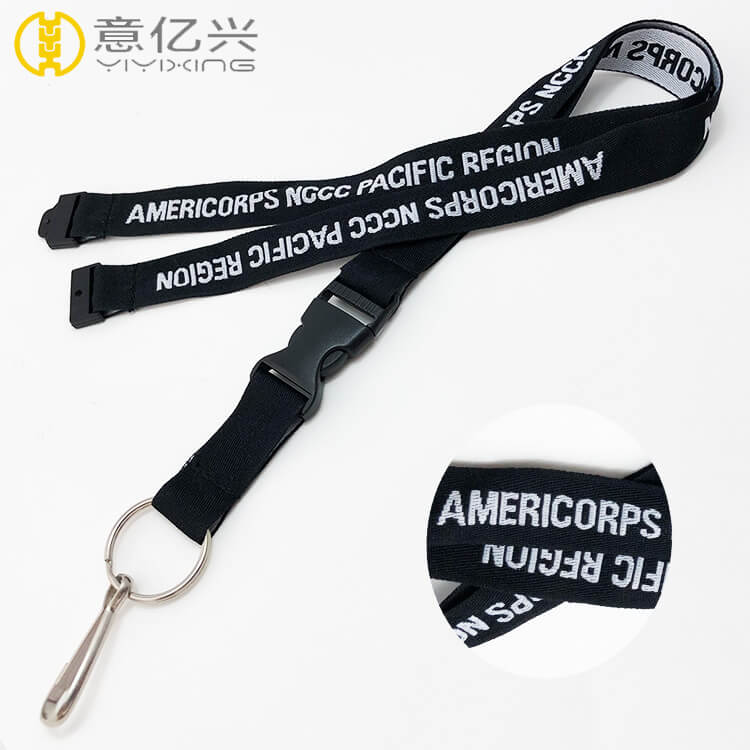 Custom polyster material adjustable black lanyard with buckle