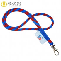 Cheap custom colorful woven logo cord rope lanyard for keys