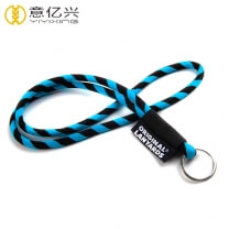 Wholesale retractable black rope lanyard with square woven label