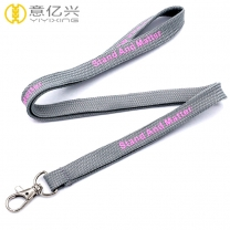 Hot sale silkscreen printed gray tape tube lanyard with custom logo