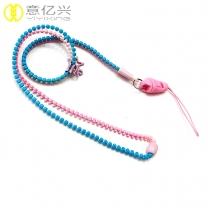 Factory price custom double color plastic neck zipper lanyard