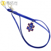 Polyester tape blue teeth plastic zip lanyards for key holder