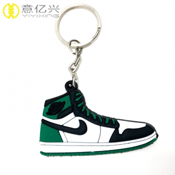 Good quality shoes logo pvc cute rubber keychain custom with metal ring