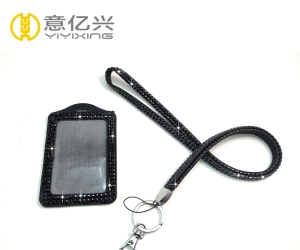 Rhinestone Black Lanyard and Sparkly Lanyard Id Card Holder