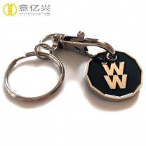 Promotional cheap multi colors metal shopping coin holder keychain
