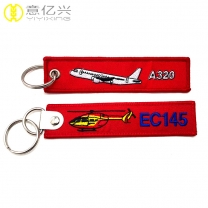 Top sale No.1 personalized keychain embroidered jet tags custom