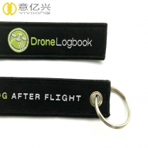 High quality woven logo custom flight tags keychain