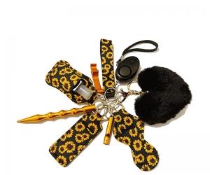Self Defense Wristlet Keychain Set Women Hand Sanitizer Holder Keychain